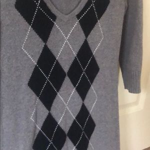 Argyle Sweater Dress with 3/4 sleeves